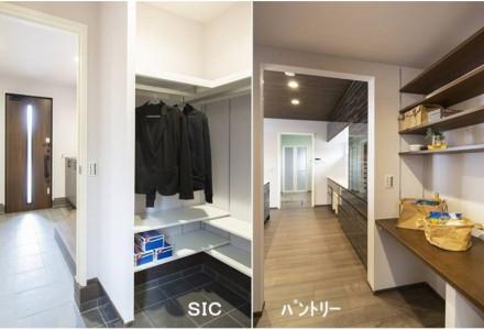玄関からキッチンへ繋がる大容量収納可能なSICとパントリー